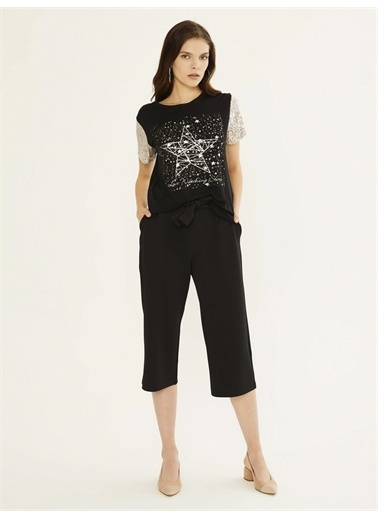 Xint XINT Yüksek Bel Bağlamalı Rahat Kesim Pantolon Siyah